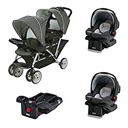 'Graco DuoGlider Click Connect Double Stroller (Two Car Seats + Extra Base)' from the web at 'https://cdn.bestcarseathub.com/wp-content/uploads/2017/08/51qxCp7zkhL._SL250_.jpg'