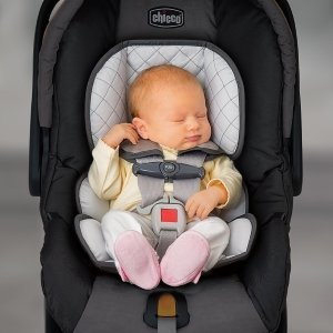 infant car seat with baby